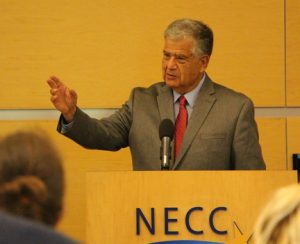 "Haverhill Mayor Jim Fiorentini spoke at an NECC Teach-In event titled, ""Why I Vote""."