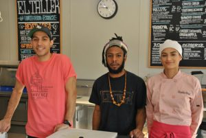 Eric Guerrero, Nate Baez and Tayisha Diaz are ready to take your food order.