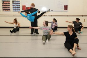 members of NECC's Modern Dance class will perform December 9 and 10. (Front right) Karrie Stang Mason of Dracut; second row, Lauren Gagne of Dracut; (Rear L to R) Tanya Borrero of Lawrence, Bethany Hill of Auburn, NH, (standing) Ben Joyall of Groveland, Connie Bodemer of Haverhill, and Geehae Moon of Newton, NH.