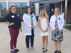 Left to right: Louise Schafer, Katie Lacroix, Alyssa Ronca (student speaker), and Justine Janvrin.