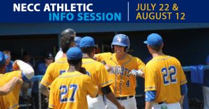 NECC will host athletic information sessions on July 22 and August 12.