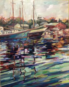 A painting showing Maine boats docked.
