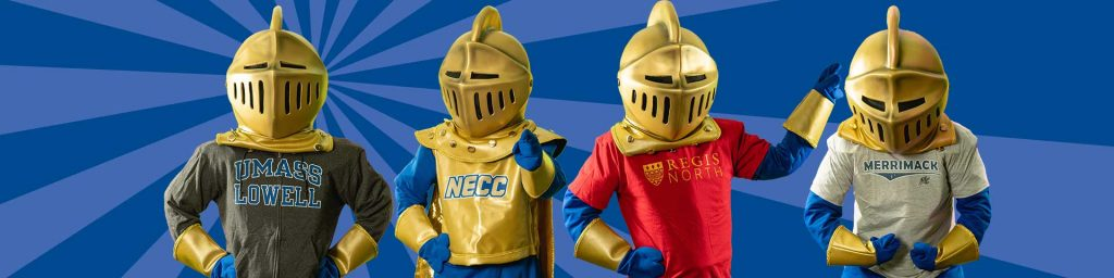 Graphic of Knight mascot wearing transfer tshirts.