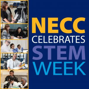 Text Spelling Out NECC Celebrates STEM Week with small photos of students engaging in STEM activities.