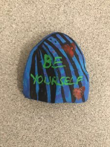 """Be Yourself"" painted on Kindness Rock."