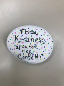 """Throw Kindness Around Like Confetti"" written on Kindness Rock"