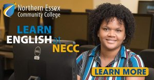 Learn English at NECC graphic of woman looking at camera