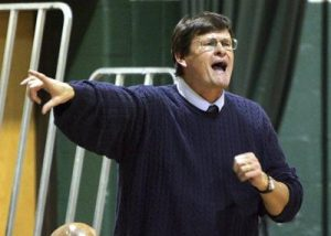 The late coach Mike Rowinski captured yelling from side court.