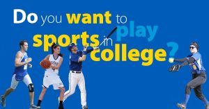 Do You Want to Play Sports in College?  Featuring a runner, basketball player, baseball batter, and softball pitcher.