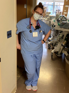 photo of Jennifer Osgood in facemask and scrubs surrounded by respiratory care