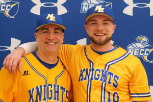 Jeff Mejia and Jeff Mejia Jr. in Knights baseball shirts.