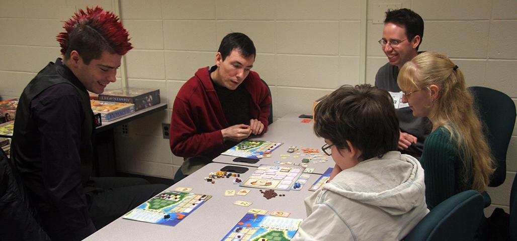 Students enjoying board games