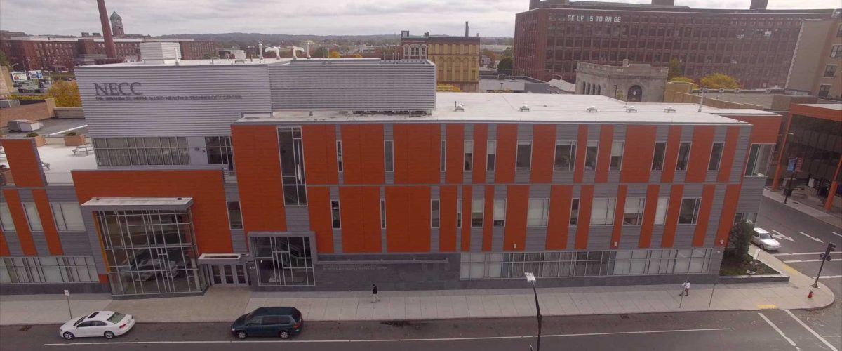 Aerial view of the NECC Lawrence Campus El Hefni Building, which you can take a tour of during Transfer Tuesday.