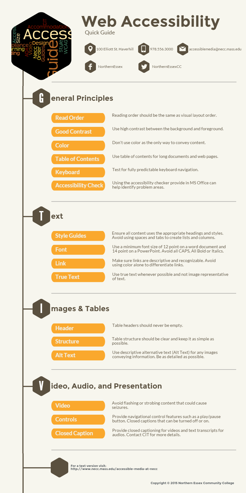 Infographic Web Accessibility Quick Guide with text description below.