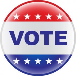 VOTE Button in patriotic red, white and blue design.