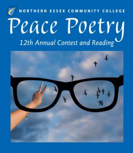 "A large pair of glasses looking at a blue sky wiht clouds with a flock of birds and a womans had making a Peace sign.""Northern Essex Community College Peace Poetry 12th annual contest and reading."""