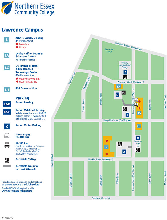Lawrence Campus Map. For people with vision issues contact 978-556-3000.