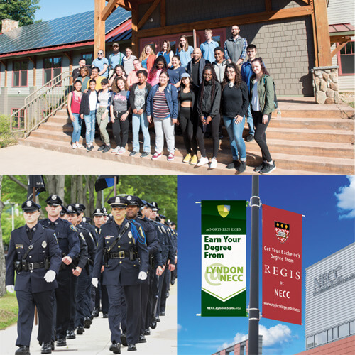 A collage of 3 images of various NECC Partnerships; The Methuen Police Academy, Bachelor degrees at NECC from Lyndon and Regis Colleges, and High School Students at Quarry Brooke.