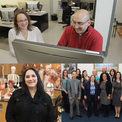 Collage of three images of Faculty and Staff; in the CIT lab, a Biology lab, and a group shot.