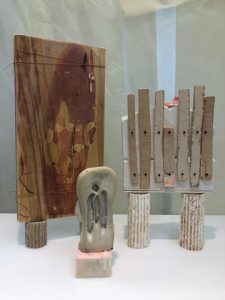 Three different types of monuments in the exhibit