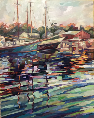 Impressionist painting of boats in the water near the coast with fall colors reflected in the water.