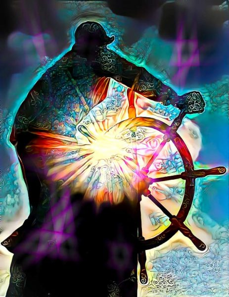 Digital graphic art of a captain of a ship turning the large wheel. A burst of light, colors and patterns comes from the wheel beneath his arm and stomach.
