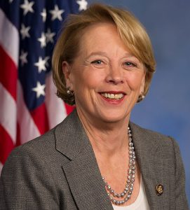 Niki Tsongas portrait with US flag behind her