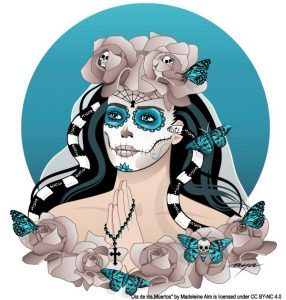 Graphic art of a portrait of a woman with a skull like painted mask and flowers, butterflies and snakes in her hair