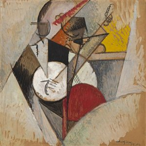 Modern artwork featuring lines and shapes that vaguely resemble a concert band. Colors; tans, grays and gold background. White, black and red shapes make up the figures and instruments..