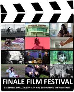 A collage of 12 screen shot of films. Ten have various faces of people, one has a rose on the ground and another a hand pressing a tool into wood.