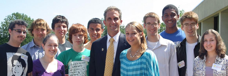 President Glenn with the scholarship winners