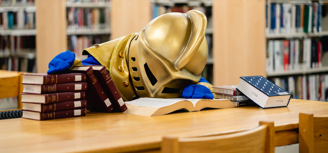 The NECC Knight has fallen asleep in the library, studying