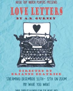 Poster for performance of Love Letters streaming on Zoom from December 10 to 12