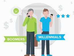 A 'Baby Boomer' with a sad face icon, and 'Millennial' with a dollar signs and star icons, standing side by side