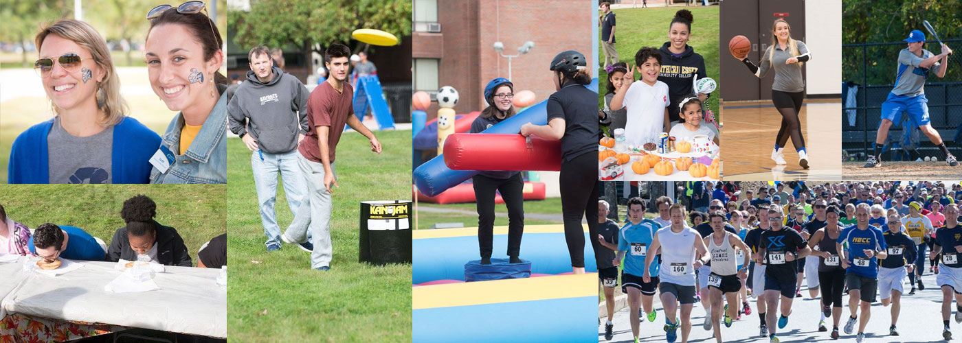 A collage of 8 photos of a past homecoming which include, backetball, baseball, campus clissic race, kids crafts, face painting, pie eating contest, jousting, and frisbee.