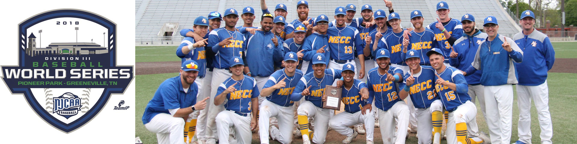 NECC Knights Baseball Team holding Divions F Championship plaque, and the NJCAA Division III World Series logo.