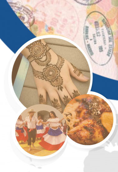 Graphic art collage with a hand full of henna tattoos, dancers, and food items on a passport with multiple stamps of foreign locations