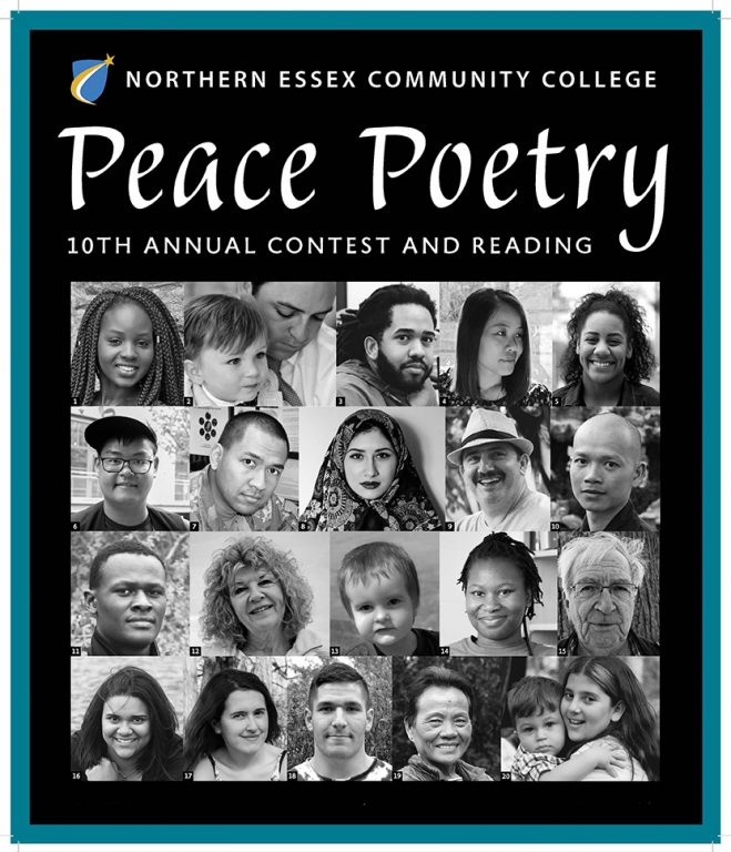 21 images of Faces from young to old, in black and white. Peace Poetry Contest 10Th Annual Contest and reading