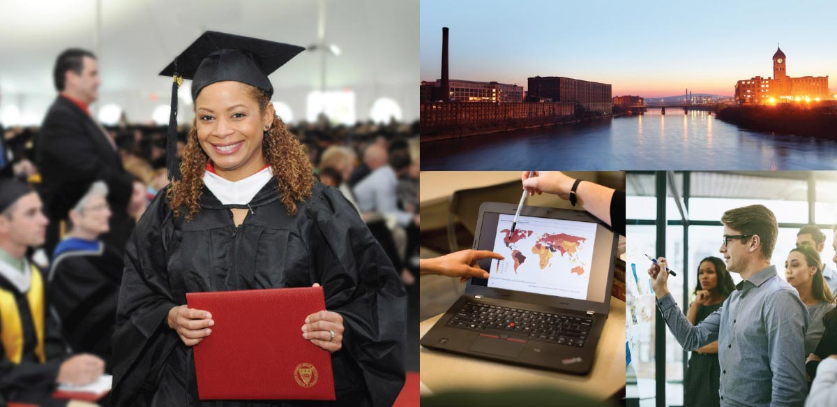 A collage of 5 photos, a woman holding a degree, a laptop, the campus at sunset and a man working in a lab