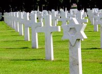A grave yard with what seems like an amount too-many-to-count of crosses (grave markers) in rows.