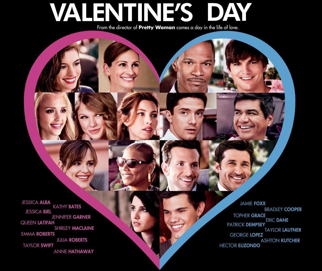 Valentines Day Movie - a collage of all the actor's faces inside a heart.
