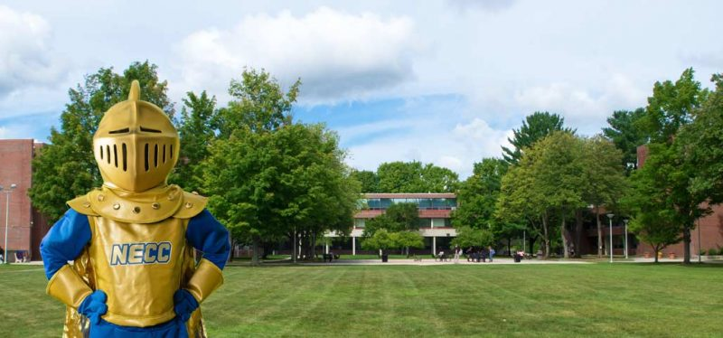 The Knight outside on the Haverhill campus Quad area.