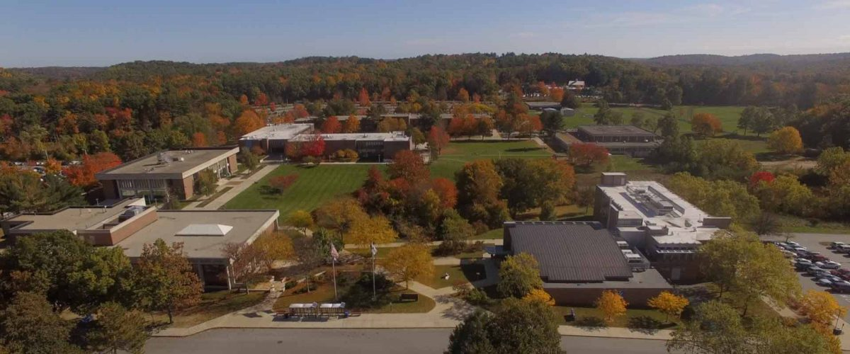 Aerial view of the NECC Haverhill Campus, which you can take a tour of during Transfer Tuesday.