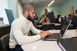 a student works on the computer