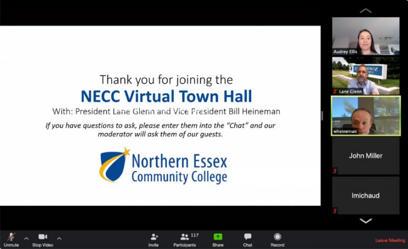 Virtual Town Hall screen shot with a 'Thankyou' message on it from Lane Glenn and Bil Heineman. Pictured attendees: Lane, Bill, and Audrey Ellis.