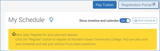 """Sreenshot of """"My Schedule"""" heading with """"Registration Portal"""" button link above."""
