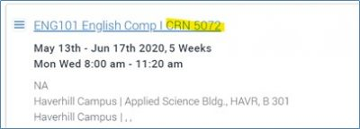 """Screenshot of an English Course """"Section"""" with dates, times and location."""