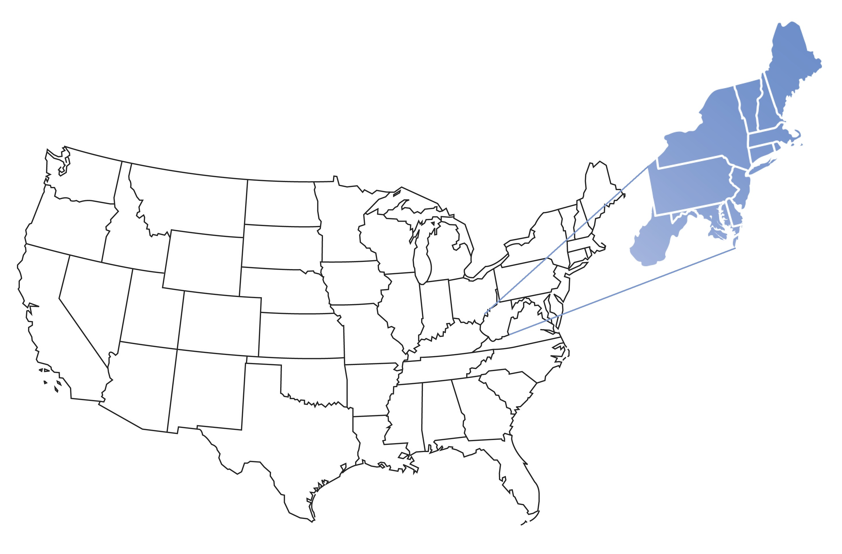 A line drawing of the united states with the east region popping out and shaded in