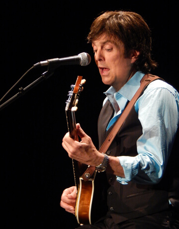 """Tony Kishman plays Paul McCartney in the """"Live and Let Die: Tribute to Paul McCartney"""" band during an NECC fundraiser."""