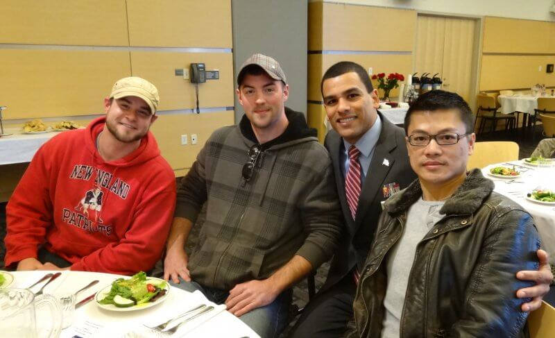 Student veterans and Francisco Ureno at Veteran's Day Appreciation event.